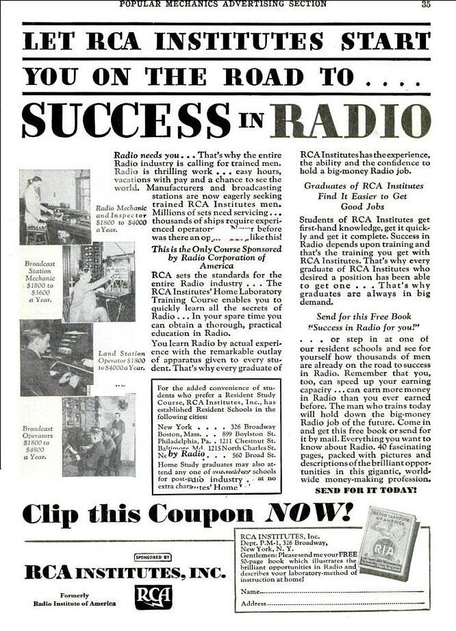 Old Ad for RCA Institutes: 'RCA Institutes!'
