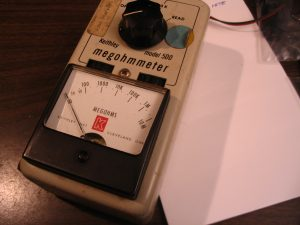 Front of the Keithley Megohmmeter
